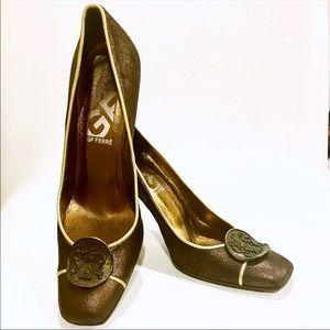 Gianfranco Ferre Bronze Leather Medallion Heels